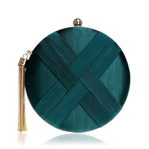 G-rf Women Fashion Banquet Party Silk Handbag (Black) (Color : Green)