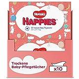 Huggies Happies - Salviette asciutte per la cura dei bambini, morbide e resistenti agli strappi, 10 x 100 pezzi, misura mensile