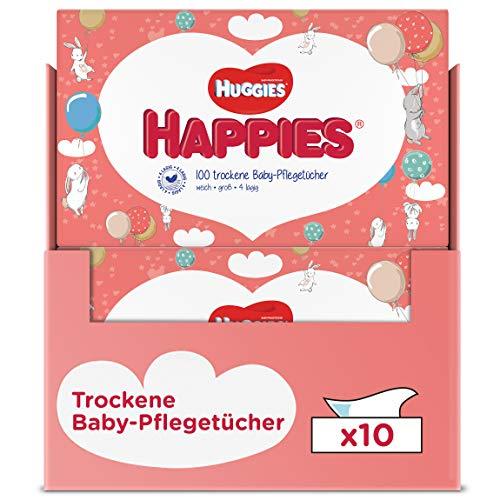 Huggies Happies trockene Baby-Pflegetücher, weich und reißfest, 10 x 100 Tücher, Monatsgröße