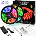 Led Strip Lights 32.8FT, UWALK Waterproof LED Lights 5050 RGB 300 LED Strip Lights for Bedroom Bar DIY Festival with 40 Keys IR Remote and Music Control Dimmable Led Rope Light Indoor Outdoor