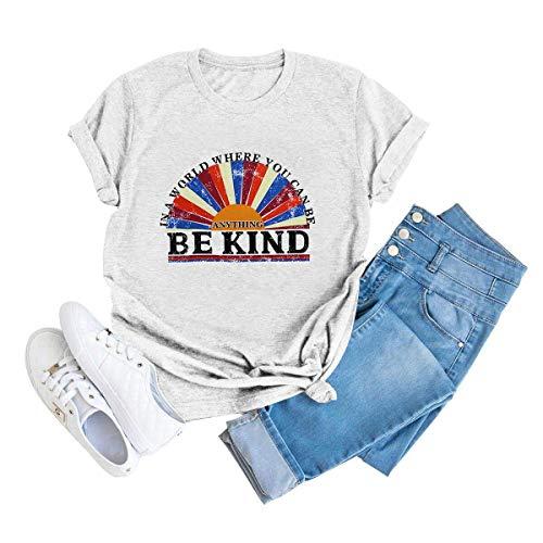 Camiseta feminina Gemlon em um mundo onde você pode ser algo bom nascer do sol estampa de manga curta camisetas tops, Light Grey, Small