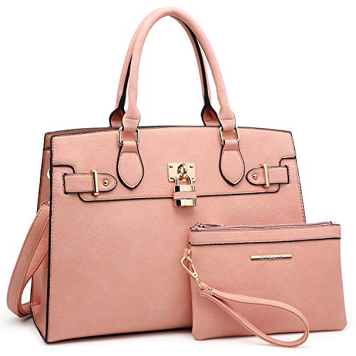 Women Handbags and Purses Ladies Shoulder Bag Ostrich Top Handle Satchel Tote Work Bag with Wallet (23- Pink)