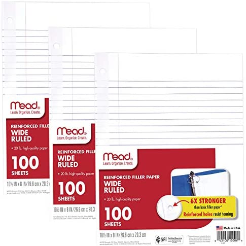 Mead Loose Leaf Paper, Filler Paper, Reinforced, Wide Ruled, 100 Sheets, 10-1/2 x 8 inches, 3 Hole Punched, 1 Pack (15006)