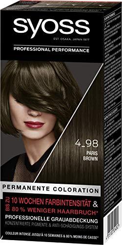 SYOSS Coloration, Haarfarbe Stufe 3 4_98 Paris Brown, bis zu 10 Wochen Farbintensität, 3er Pack (3 x 115 ml)