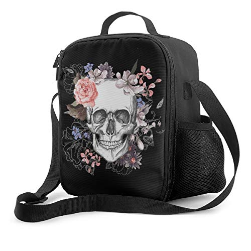 Pink Floral Sugar Skull Flower Reusable Insulated Cooler Lunch Bag - Office Work Picnic Hiking Beach Lunch Box Organizer with Adjustable Shoulder Strap for WomenMen