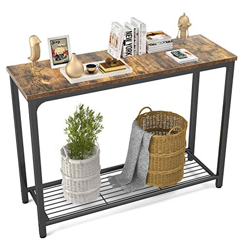 Ecoprsio Console Table Sofa Table with Mesh Shelves, Industrial Entryway Table Foyer Table for Entryway, Front Hall, Hallway, Sofa, Couch, Living Room, Coffee Bar, Kitchen, Rustic