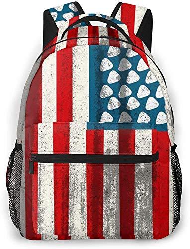 Retro delgado azul bandera de la policía básica viaje portátil mochila moda escuela bolsa guitarra bandera americana