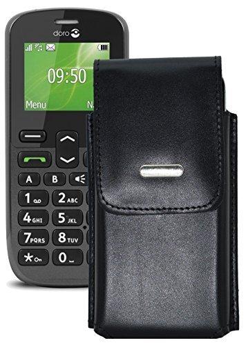 Vertikal Etui für / Doro PhoneEasy 508 / Köcher Tasche Hülle Ledertasche Vertical Hülle Handytasche mit einer Gürtelschlaufe auf der Rückseite
