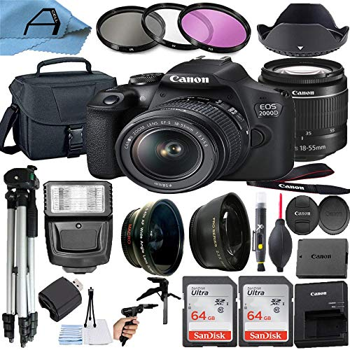 Canon EOS 2000D / Rebel T7 Digital DSLR Camera 24.1MP CMOS Sensor with 18-55mm Zoom Lens, 2 Pack SanDisk 64GB Memory Card and A-Cell Accessory Bundle (Black)