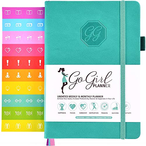 GoGirl Planner - Goal Planner & Organizer for Women - Undated (Turchese (senza date), Compact (13.5 x 19.5cm))