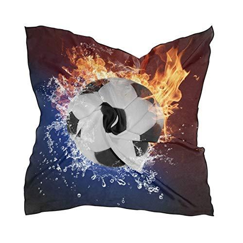 QMIN Seide quadratisch Schal Abstraktes Feuer Wasser Fußball Mode Kerchief Leichtes Haar Wrap Stirnband Tidy Halstuch für Frauen 60x60cm
