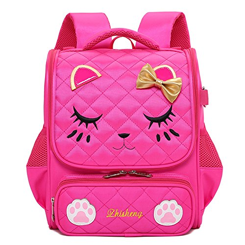 Moonmo Cute Cat Face Pink Kitty Waterproof School Backpack Girls Book Bag (Small, Rose)