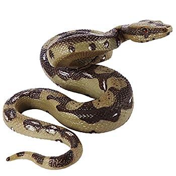 STOBOK Rubber Fake Snake 5.7Inch Realistic Snake Toy Scary Prank Animal Figure Rubber Python Model Garden Props for Halloween