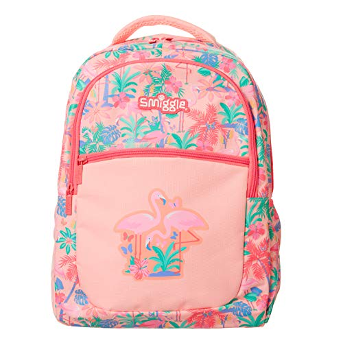 Smiggle Neat Kids School Backpack for Boys & Girls with 3 Zipped compartments and Drink Bottle Sleeve   Flamingo Print