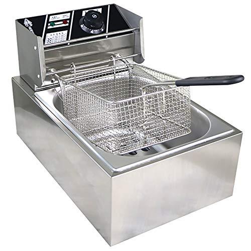 Freidora comercial eléctrica 2500W, 6L freidora eléctrica con función de tiempo para el hogar Restaurante Fries Pollo/papas fritas