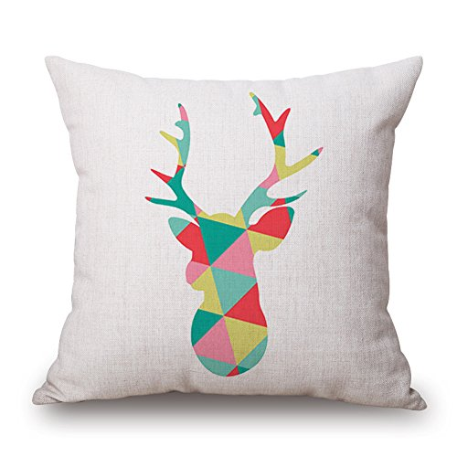Happy Cool quadrata in cotone modello animale cuscino decorativo Cuscino 45,7 x 45,7 cm 22'x 22' with Insert B-elk