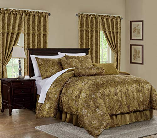 Chezmoi Collection Lennox 7-Piece Gold Floral Jacquard Embroidered Motif Comforter Bedding Set, Queen Size