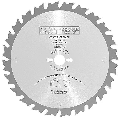 CMT ORANGE TOOLS 286.024.13M Sierra circular para la construccion 315x3.2x30 z 24 atb, Metallo/Grigio