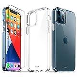 TUCCH Funda Compatible con iPhone 12 Pro 5G(6.1', 2020), Carcasa Transparente para iPhone 12, Ultrafina TPU Carcasa Protectora Antigolpes con Protector de Pantalla, Protección Completa, Transparente