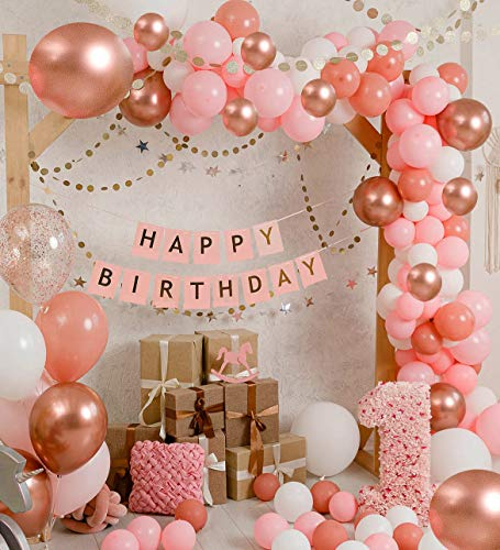 Vivuzono Balloon Garland Kit Balloon Arch Kit 132 Pcs Pink Rose Gold White Confetti Balloons Big Balloons mix 16 ft long Decorations for Parties Wedding Baby Shower Graduation