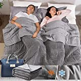 OMYSTYLE 15lb Weighted Blanket Queen Size(80''x87'', Double-Sided), Plush Weighted Blanket for Adult, Reversible Weighted Blanket with Warm Soft Plush and Cool Tencel Fabric - Carry Bag Included