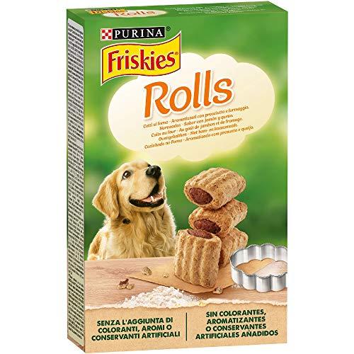 PURINA FRISKIES Rolls Biscotti per Cane aromatizzati con Prosciutto e Formaggio - 6 scatole da 320g ciascuna