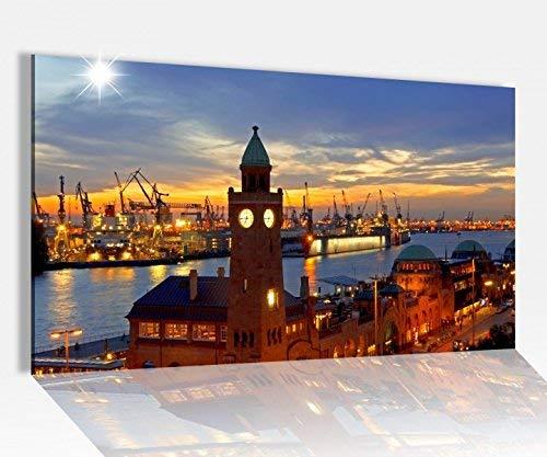 Acrylglasbilder 80x50cm Skyline Hamburg Hafen Stadt Acryl Acrylbild Acrylglas Wand Bild 14?8029, Acrylglas Größe4:80cmx50cm