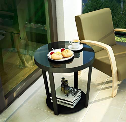 YWXCJ Tables Basses Canapé côté Meuble Mini Table Basse Coin Salon Balcon en Fer forgé Petite Table Ronde en Verre (Couleur : Noir)