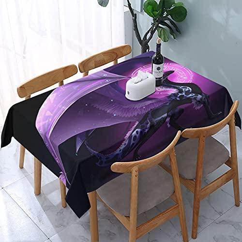 Mantel decorativo con diseño de dragón morado, rectangular, sin arrugas, lavable, para cocina, comedor, fiesta, picnic, barbacoa, 137 x 183 cm