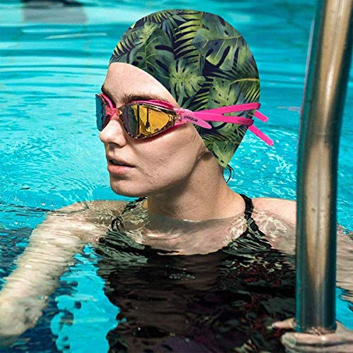 Gebrb Watercolor Tropical Leaves Lycra Cuffie da Nuoto,Cuffie da Bagno,s Bathing And Shower Hair Cover Ear Protection for Long Hair & Thick Hair & Curly Hair, Easy to Put On And off