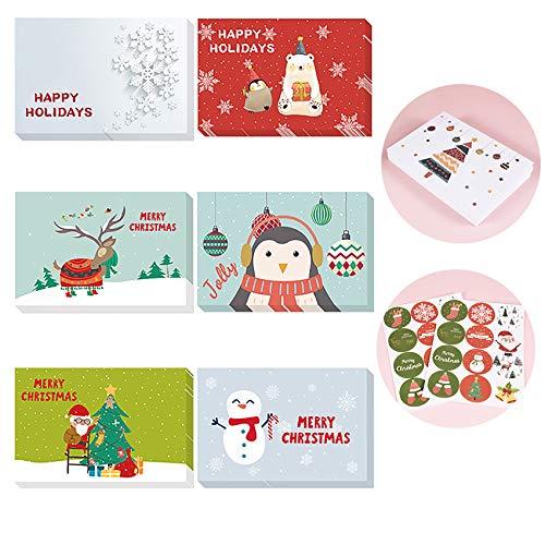 Shengruili 24 Piezas Tarjetas de Navidad con Sobres,Invitación Eventos y Navidad Celebración,Invitación Eventos y Navidad Celebración,Tarjetas Postales y Sobres