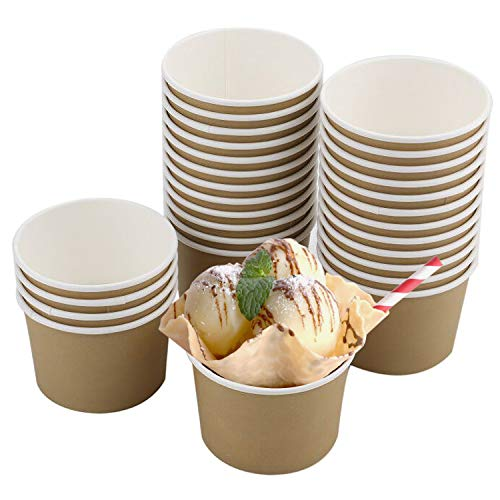 Lawei 100 Pack 8 oz Ice Cream Cups - Disposable Paper Dessert Bowls for Hot and Cold Food, Soup, Sundae, Frozen Yogurt