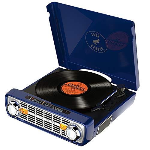 Toca-discos vinil Bronco LP ION com rádio, USB, entrada auxiliar e conversão digital 110V - Azul