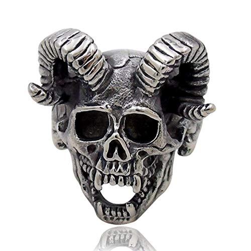 Enfriar Anillo del Cráneo del Vampiro Cuerno de Cabra Cráneo de La Aleación del Anillo para Hombre Motocicletas Motorista del Zombi,11