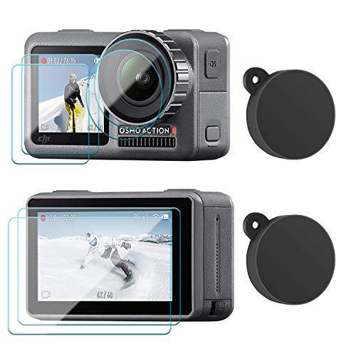 FYOUNG Displayschutzfolie aus Gehärtetem Glas und Objektivdeckel Zubehör für DJI Osmo Action Cam [2 Stücke]