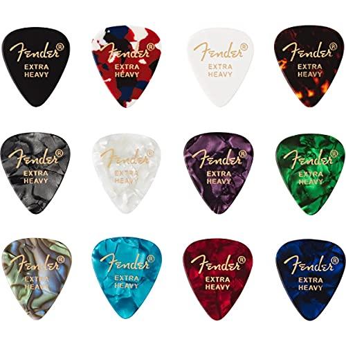 Fender '351 Medley' Plettri in celluloide per Chitarra e Basso - Colori vari - Extra Heavy - Set di 12