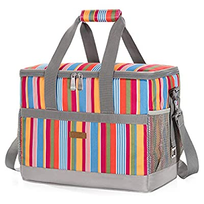 LUNCIA 30L (50-Can) Soft Collapsible Cooler Bag Lunch Bag Box, Insulated Travel Bag, Soft-Sided Cooling Bag for Beach/Picnic/Camping/BBQ, Multicolor