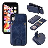 iPhone 8 Plus/7 Plus Wallet Case with 6 Card Holder, Detachable Leather Hynice Purse for Women Men Kickstand Credit Slots Shockproof Slim Cover Flip Case Fit iPhone 8Plus/7Plus (Navy, iPhone 8Plus)