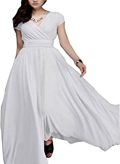 4ab3ad58f609 Yayu Women's V-Neck Chiffon Party Maxi Dress Summer Bohemian Dress