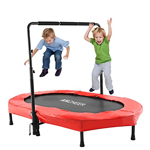ANCHEER Foldable Trampoline, Mini Rebounder Trampoline with Adjustable Handle, Exercise Trampoline for Indoor/Garden/Workout Cardio, Parent-Child Twins Trampoline Max Load 220lbs