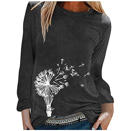 XXYsm Damen T-Shirt Langarm Herbst Tops Cat Sunflower Soft Frauen Loose Casual Top Bluse