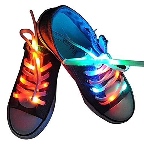 Arisesun 1 par de cordones de luz LED impermeables, funciona con pilas, para fiestas, hip-hop, patinaje, correr, cosplay
