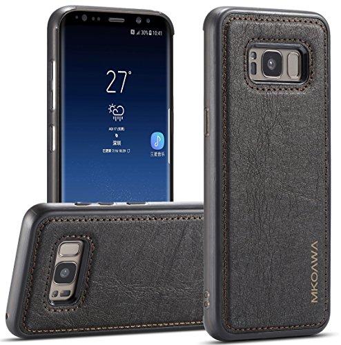 Samsung Galaxy S8 Funda, MKOAWA Samsung Galaxy S8 Fundas, con Case protectora a prueba de golpes de cuero delgado para Samsung Galaxy S8 (5.8 pulgadas) - Negro