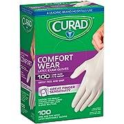 Curad Latex Exam Gloves, Pack of 100
