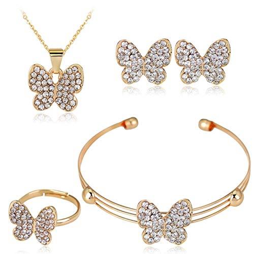 Cute Butterfly Girls Bambini Gioielli Set Moda Cristallo Strass per Bambini Braccialetto Collana Orecchini Orecchini Gioielli
