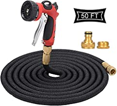 "50FT Black Garden Hose,Japan Imported Cloth Cover Expandable Water Hose with 3/4"" & 1/2"" Durable Full Solid Brass Valve Connector,Three Layer Latex Inner Tube,8 Function Metal Nozzle"