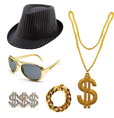 Conjunto de Disfraz de Hip Hop 80s/90S, Accesorios de Rapero de Oro Falso, Sombrero Gafas Collar Anillo y Pulsera con Signo de Dólar (Pack A con sombrero)