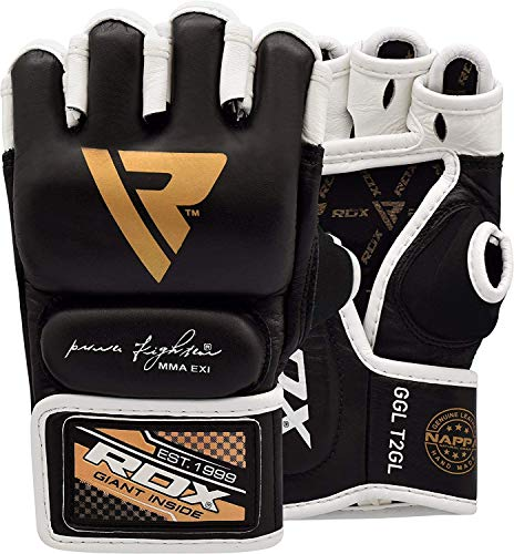 RDX MMA Gloves for Grappling Martial Arts, Open Palm Genuine Cowhide Leather, Padded Sparring Mitts for Kickboxing, Muay Thai Cage Fight, Punching Bag, Combat and Speedball Training