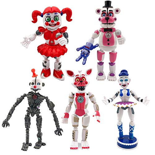 5 Pcs FNAF Action Figures - Toys Dolls Gifts Cake Toppers, Five Nights at Freddy's Action Figures - Freddy, Circus Baby, Enard, Belora, Funtime Foxy, 6 inches