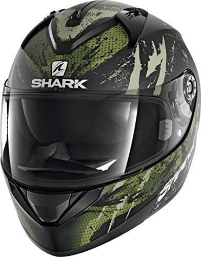 Shark Casco Moto RIDILL 1.2 THREEZY MAT KWG, Nero/Verde, L
